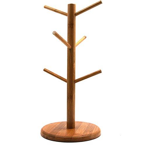 Mug Rack Tree Removable Bamboo Mug Stand Storage Coffee Tea Cup Organizer Hanger Holder with 6 Hooks