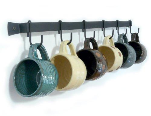 Wall-Mounted Wrought Iron Mug Rack 24 with 6 Cup Hooks