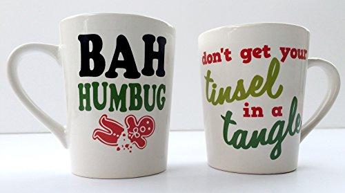 Bah Humbug Coffee Mug Don't Get Your Tinsel in a Tangle Gift Set - Funny Christmas Mug Gift Set - Scrooge Mug