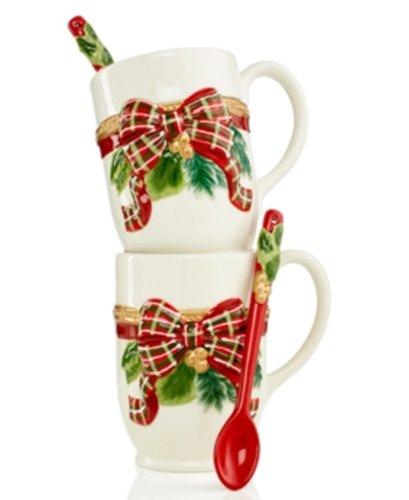 Christmas Mug and Spoon Set - Tartan Plaid Ribbon by Charter Club