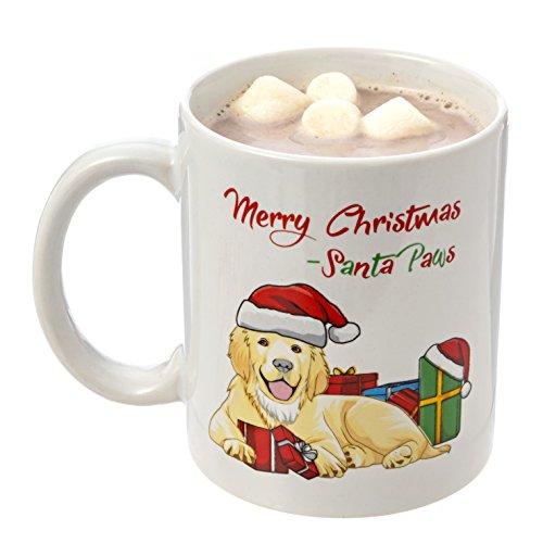 Golden Retriever Santa Paws Merry Christmas Mug 11oz Coffee Mug - Perfect Holiday Mug Christmas Mug Cute Christmas Gift Gifts for Coworkers Friends Grandma Grandpa Loved Ones