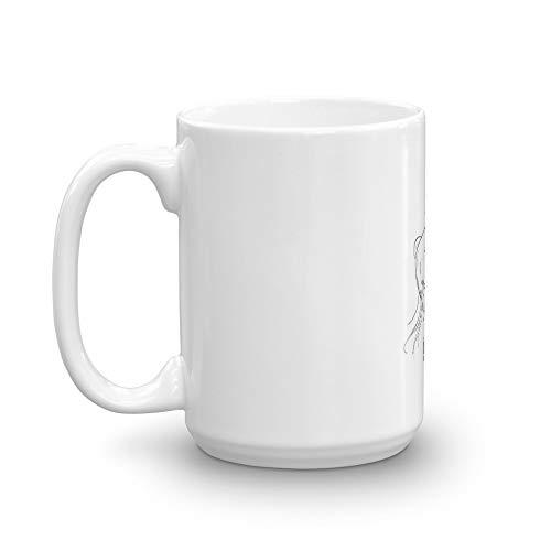 Unicorn with moustache Mug 15 Oz White Ceramic