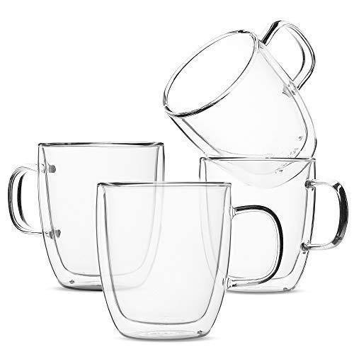 BTäT- Insulated Coffee Mugs Glass Tea Mugs Set of 4 12 oz 350 ml Double Wall Glass Coffee Cups Tea Cups Latte Cups Glass Coffee Mug Beer Glasses Latte Mug Clear Mugs Glass Cappuccino Cups