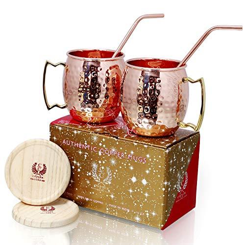 Copper Mugs - Set of 2-100 HANDCRAFTED - Food Safe Pure Copper Mugs - 16 oz Hammered - BONUS Copper Straws Wooden Coasters - Gift Set