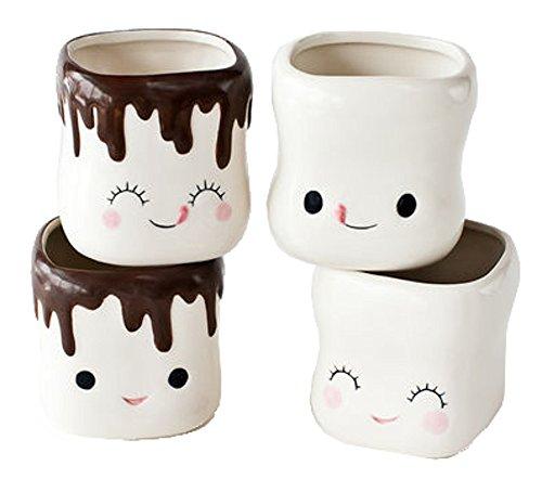 Cute Marshmallow Shaped Hot Chocolate Mugs-Ceramic-Set of 4