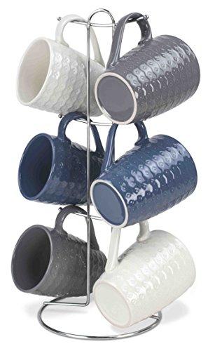 Home Basics 7 Piece Diamond Mug Set 6 11 oz Mugs and Mug Stand in Navy Gray and White Fun and Stylish Decorative Display For your Kitchen