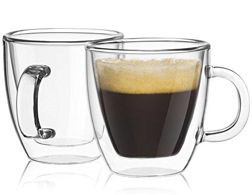 JoyJolt Savor Double Wall Insulated Glasses Espresso Mugs Set of 2 - 54-Ounces