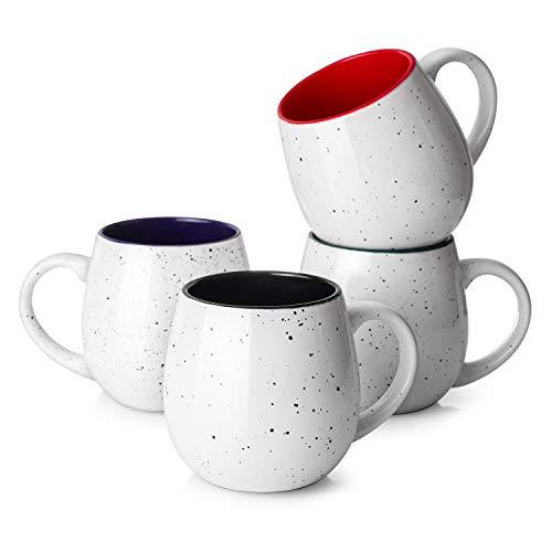 LIFVER 20 Ounces Coffee Mugs Large Porcelain Mug Sets for Coffee Tea Cocoa Housewarming Gift Set of 4 Multi Colors