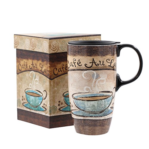 A Ting Tall Ceramic Travel Mug 17 oz Sealed Lid With Gift Box cafe