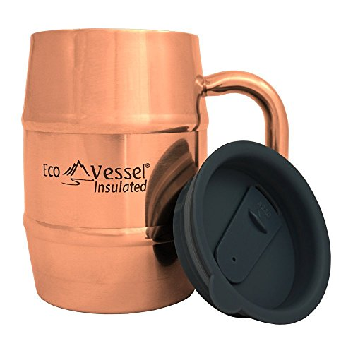 EcoVessel DOUBLE BARREL Double Wall Insulated Stainless Steel Beer and Coffee Mug with Lid - 16 Ounce - Copper