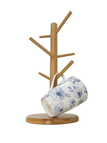 Bamboo Mug Tree Rack Stand with 6 Storage Hooks Hold and Dry Large Coffee Mugs or Cups