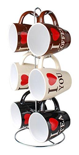 Home Basics MS01479 6 Piece Coffee Mug with Stand