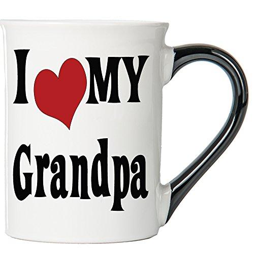 Cottage Creek Grandpa Mug Large 18 Ounce Ceramic I Love My Grandpa Coffee Mug Best Grandpa White