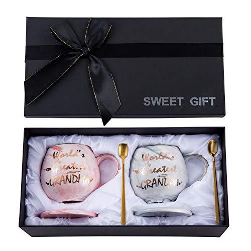 Oyiyou Grandma and Grandpa Gifts - Set of 2 Gift for Grandma and Grandpa - WORLDS GREATEST Grandma and Grandpa Funny Coffee Mugs - Marble Ceramic Coffee Cup 14oz and Coasters