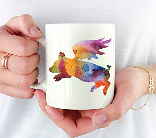 Flying Pig Mug - Flying Pig Lover Coffee Mug - 11 oz - Unique Flying Pig Gifts