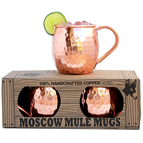 Morken Barware Moscow Mule Mugs - Set of 2 - Premium 12 Pound Mugs - 100 Solid Copper - Hammered Finish - 16oz