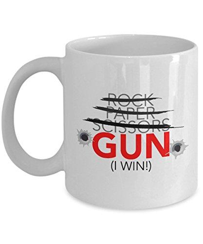 Gun Coffee Mug -- Mugs For Men -- Rock Paper Scissors Gun Mug -- Ceramic Coffee Cup