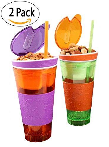 Kids Travel Cups Snackeez Travel Mugs - 16 oz Tumbler Cup with Snack Container Inside 1 OrangeGreen 1 PurpleOrange 2 Pack