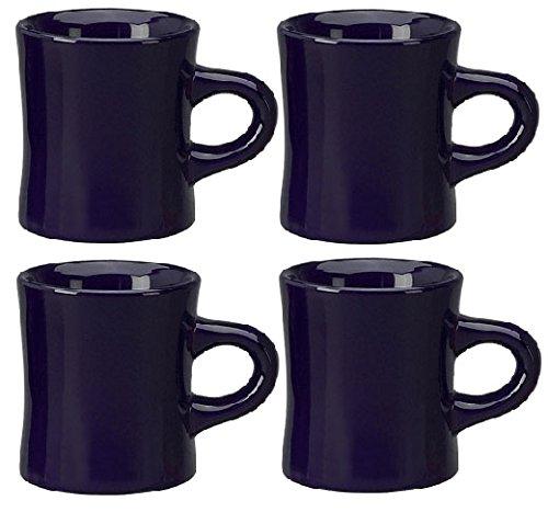 ITI Ceramic Diner Coffee Mugs 10 Ounce 4-Pack Cobalt Blue