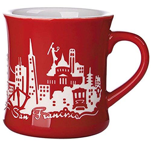 San Francisco Skyline Etched Diner Mug - Red - A Califonria Souvenir