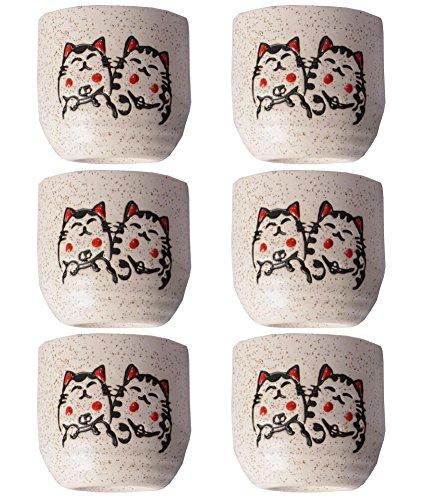 Cute Cat Pattern Serving Gift Sake Cups Set of 6