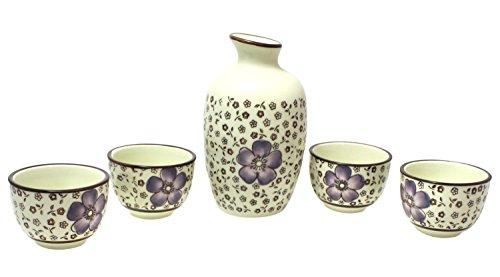 Japanese Style Ceramic Porcelain Sake Cup Set Of 5 Pieces Purple Floral Design