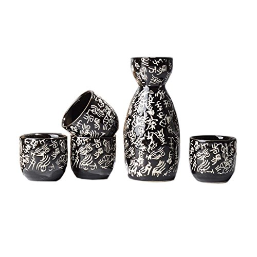 Japanese Ceramic Sake Bottle Cups Sets Sake Flask for Sushi Bar 01