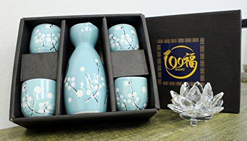 Blue Winter Flower Japanese flower Porcelain Sake Set with 4 Cups 1 Decanter  Bottle  Carafe