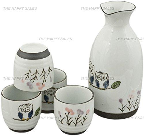 Happy Sales HASS-OWL17  Porcelain Sake Set Owls