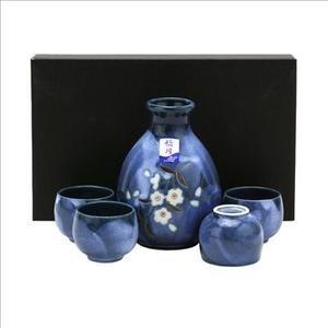 JapanBargain S-3456 Porcelain Sake Set Sakura Dark Blue