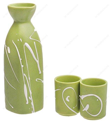 Japanese Green Porcelain Sake Set with White Paint Stroke