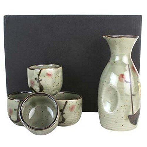 Kafuh MSE70MUV Japanese Porcelain Sake Set with Cherry Design Bottle 450 H x 300 W  Cups 150 H x 2 W