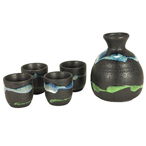 Set of 5 Pieces Japanese Porcelain Metallic Black Elemental Sushi Sake Bottle Cups Set