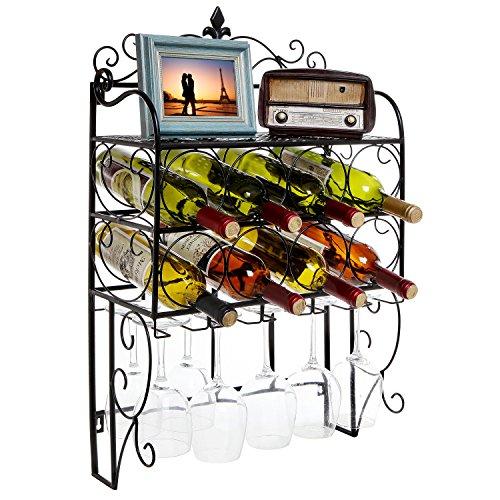 Grandeur Wall Mounted 8 Bottle 6 Glass Stemware Wine Rack Display Storage Organizer w Top Shelf
