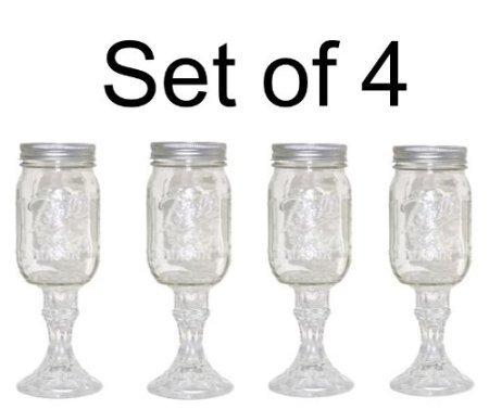 Mason Jar Wine Glass Stemware Set of 4