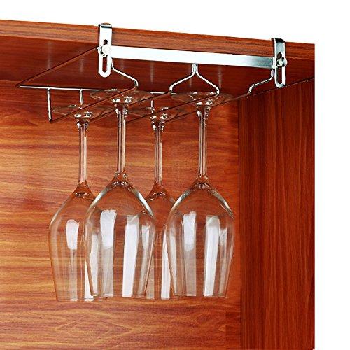 VOBAGA Stemware Racks 2 Rows Adjustable Stainless Steel Wine Glass Rack Stemware Hanger Bar Home Cup Glass Holder Dinnerware Kitchen DiningHold 4 Glasses