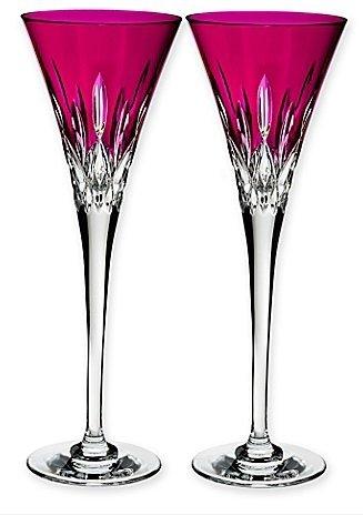 Waterford Lismore Pops Set of 2 Flutes Hot Pink
