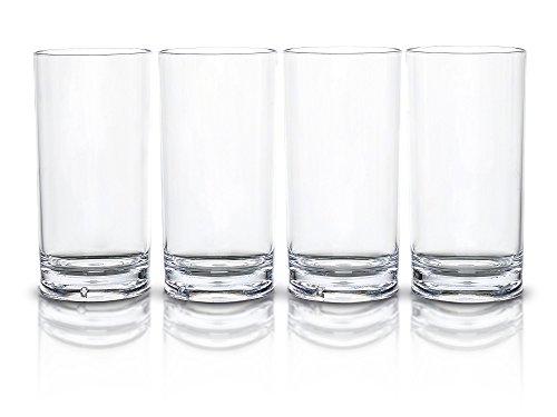 Modern Innovations 16 Ounce San Acrylic Tumbler Highball Glass Set of 4 -- Restaurant Quality BPA-Free Break Resistant Dishwasher Safe Acrylic Drinking Glasses