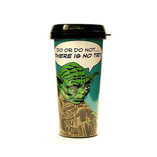 Silver Buffalo SW8187 Star Wars Yoda Comic BPA-Free Plastic Travel Mug 16-Ounces
