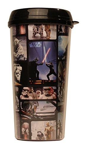 Silver Buffalo SW9087 Disney Star Wars Photo Reel Grid Plastic Travel Mug 16-Ounces