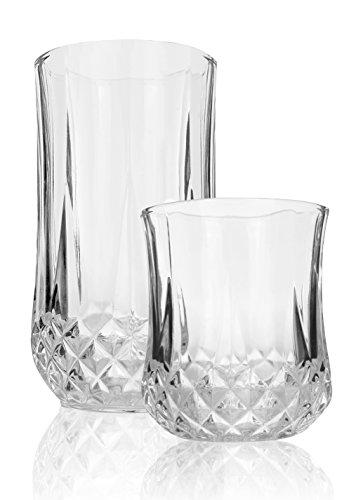Palais Glassware Marseille Collection Elegant Diamond Cut Clear Glass set Set of 12 6 - 9 Oz 6 - 13 Oz