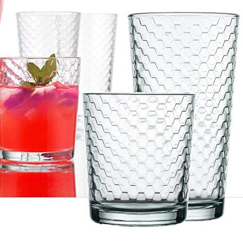 Palais Glassware Ruche Collection Glassware Set Set of 8 - 4 17 Oz 4 13 Oz Clear