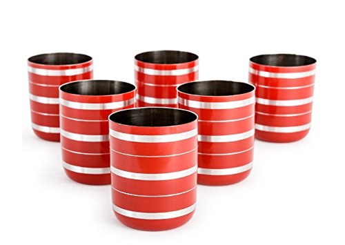 STREET CRAFT Stainless Steel Silver Lining Red Tumbler Glass Set Of 6 Pcs Capacity 10 Ounce Each