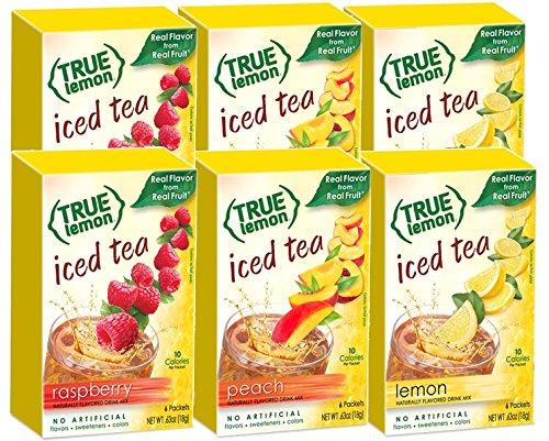 True Lemon Iced Tea LEMON PEACH RASPBERRY 2 boxes each flavor 6 boxes total 36ct instant powdered drink mix packets by True Citrus