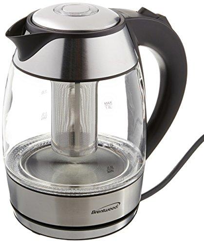 Brentwood KT-1960BK Appliances Borosilicate Glass Tea Kettle with Tea Infuser Black