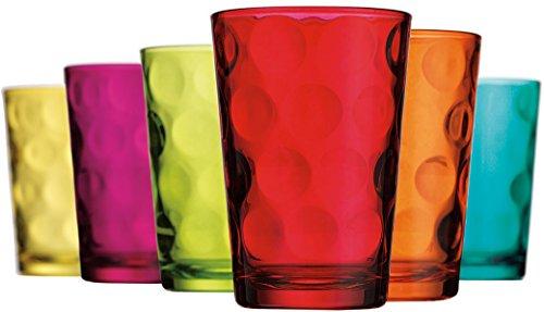 Finest Quality Drinking Glassware ~ Juice Glasses ~ Set of 6 ~ Dots design ~ Asst Color ~ 7 oz