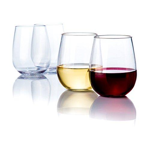 Elegant Stemless Plastic Wine Glasses by Savona  Unbreakable Wine Glasses  Ideal for IndoorOutdoor Use  Dishwasher Safe  100 Tritan Shatterproof Wine Glasses  Set of 4