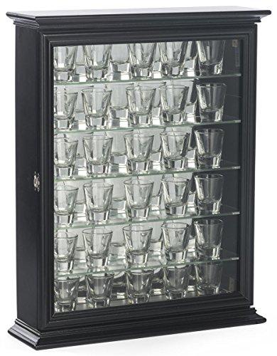 Displays2go Shot Glass Display Wooden Case with Glass Door Black