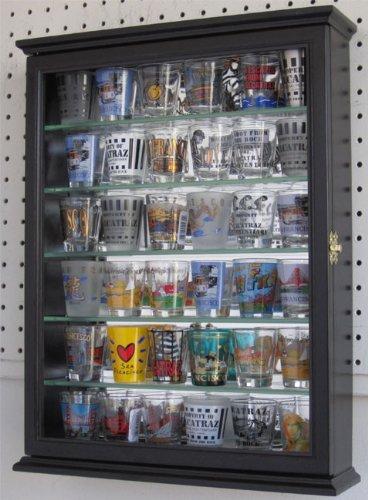 Shot glass display case cabinet holder rack shadow box - BLACK Finish SCD06B-BL
