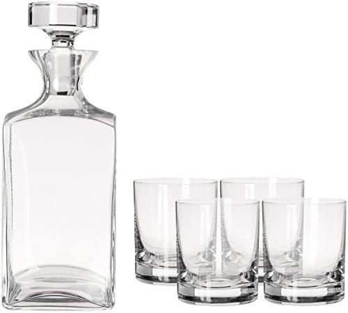 Mikasa Carson 5-Piece  Square Whiskey Decanter Set
